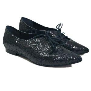 Schutz Black Glitter Oxfords Shoes Pointy Toe